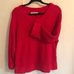 Side zip red boat neck sweater